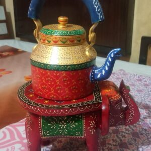 Hand Painted Wooden Elephant with Traditional Hand Painted Kettle