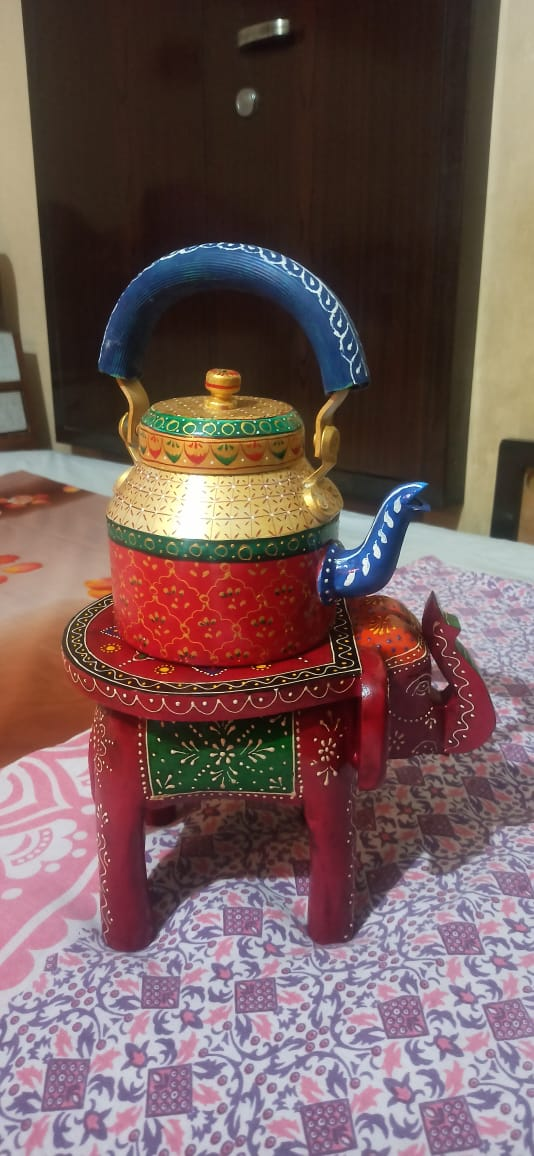 Hand Painted Wooden Elephant with Traditional Hand Painted Kettle2 1