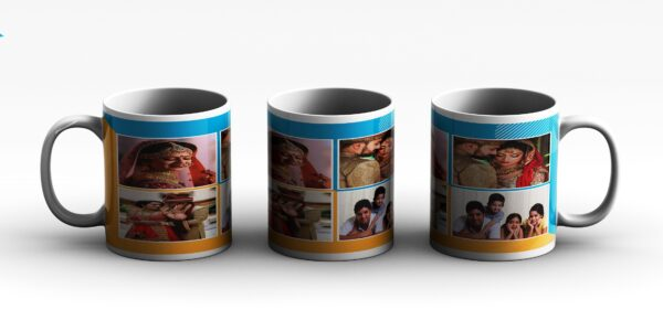 MUG Collage 4 PHOTO PERSONALIZED 2 3 side white red