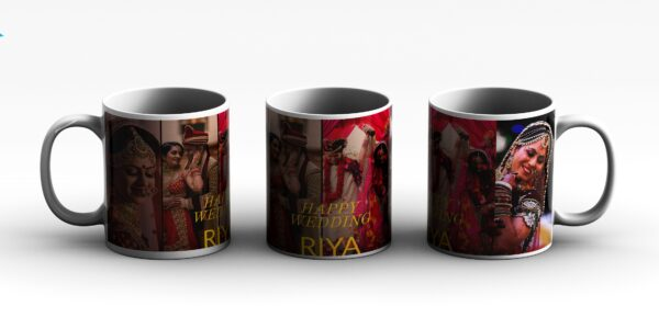 MUG College 4 PHOTO PERSONALIZED with text 3 side white red
