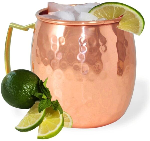 Pure Copper Hammered Moscow Mule Beer Mug Cup1