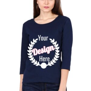 Custom Women's Full Sleeve Navy Blue 180 GSM