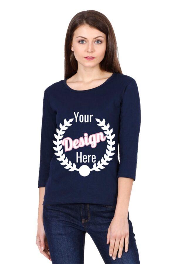 Custom Women's Full Sleeve Navy Blue