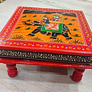 Wooden Bajot with Rajasthani Hand Painting