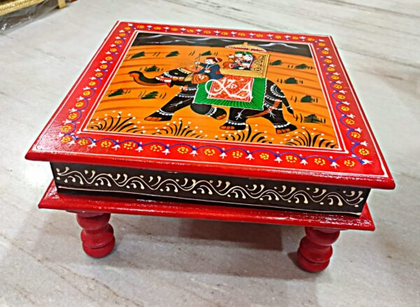 Wooden Bajot with Rajasthani Hand Painting2