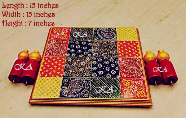Wooden Embose Chowki with Foldable Legs 2