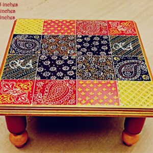 Wooden Embose Chowki with Foldable Legs