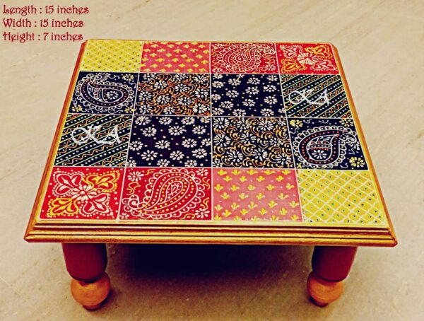 Wooden Embose Chowki with Foldable Legs.