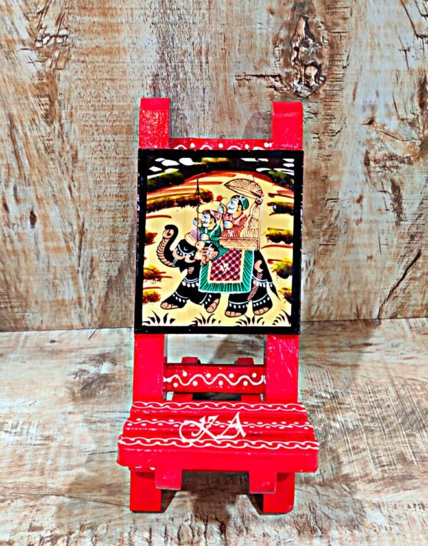 Wooden Mobile Stand With Amazing Rajasthani Hand Painting1