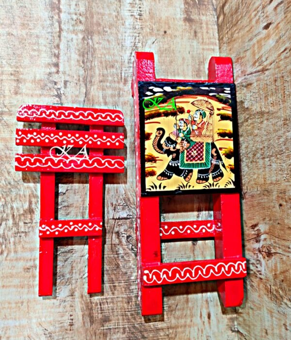 Wooden Mobile Stand With Amazing Rajasthani Hand Painting2