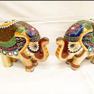 Wooden elephant set with colorful work set of 2 size  8*10*2.5