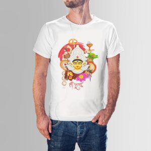durga puja navaratri t shirt white red