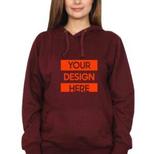 Custom Unisex Hooded Sweatshirt Maroon 320 GSM