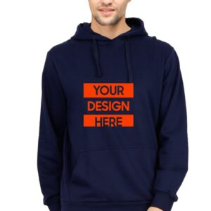 Custom Unisex Hooded Sweatshirt Navy Blue