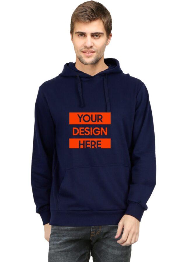 Custom Unisex Hooded Sweatshirt Navy Blue