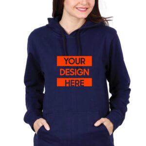 Custom Unisex Hooded Sweatshirt Navy Blue 320 GSM