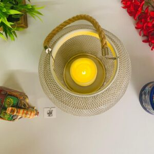 Beautiful metal led tealight holder battery operated.