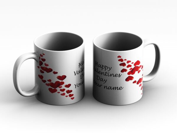 mug Heart with text type 1 2 side white red