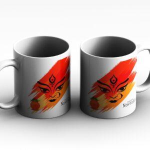 mug Navratri Both Side side white red