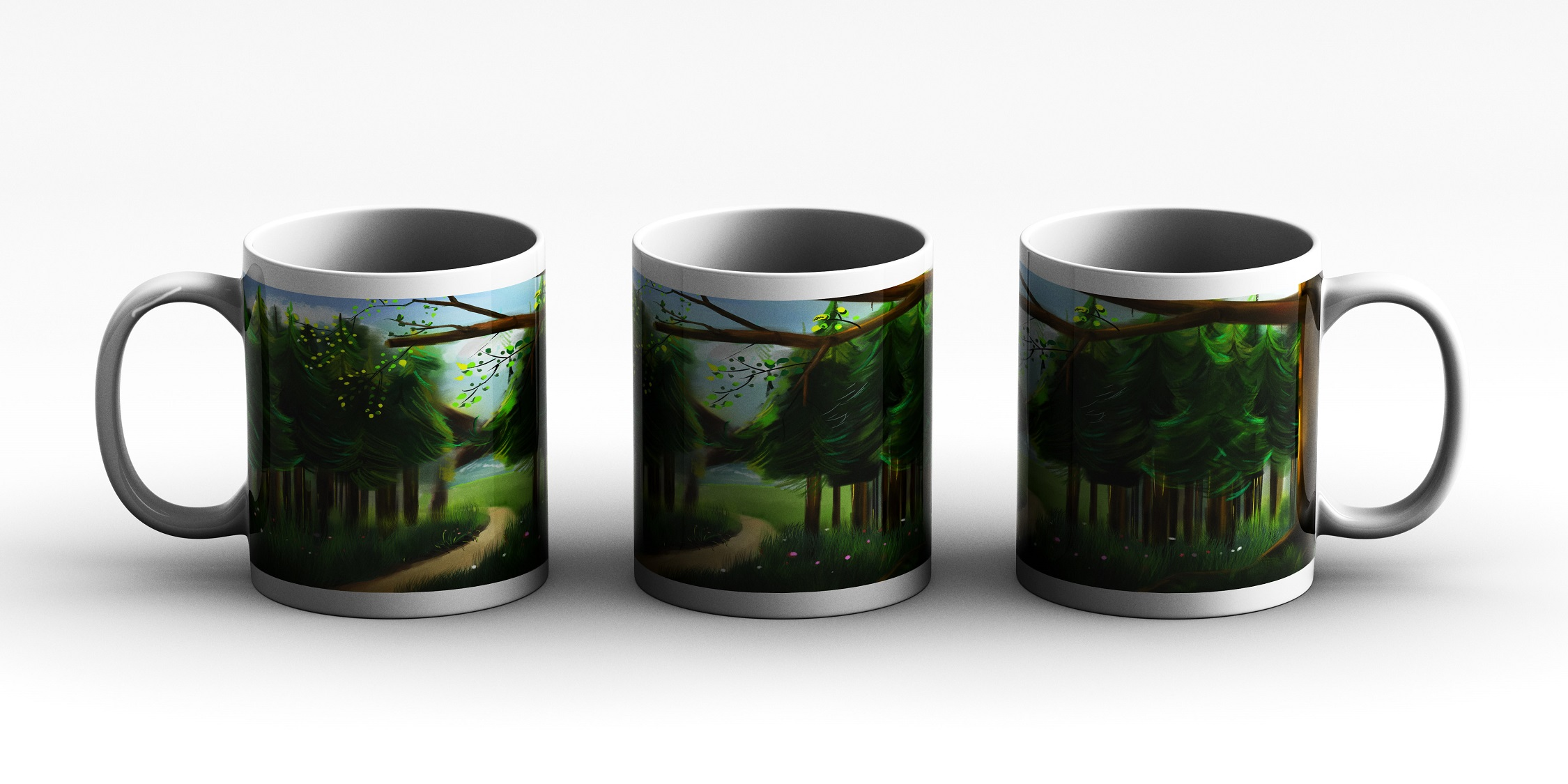 mug Step on forest green background 3 side white red