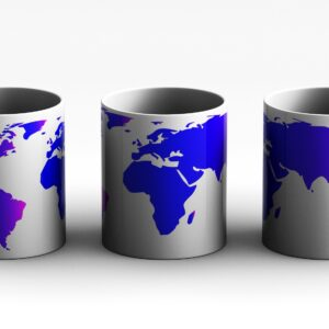 mug World Map Style 2 3 side white red