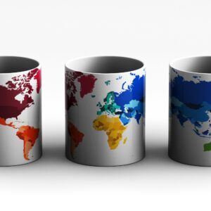 mug World map Style 1 3 side white red