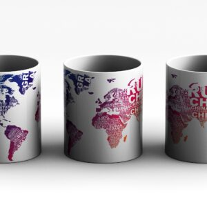 mug World map Style 3 3 side white red