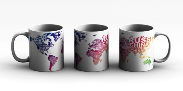 mug World map Style 3 3 side white red
