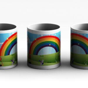 Cartoon rainbow  grass Printed Coffee Mug