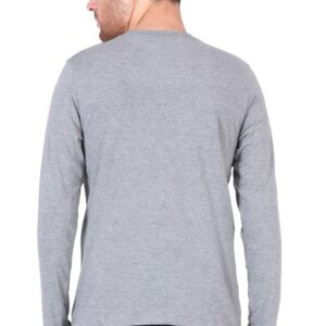 Custom Men's Full Sleeves Grey T-Shirt 180 GSM