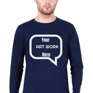 Custom Men's Full Sleeves Navy Blue T-Shirt 180 GSM