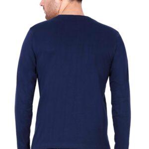 Custom Men's Full Sleeves Navy Blue T-Shirt 180 GSM