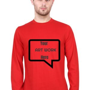 Custom Men's Full Sleeves Red T-Shirt 180 GSM