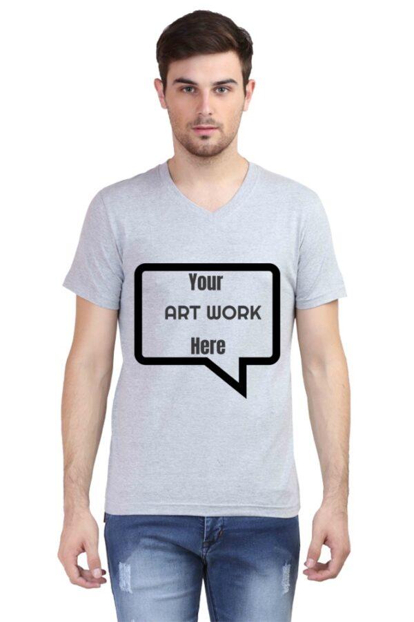 Custom Men's V Neck T-Shirt Grey