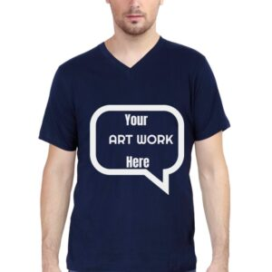 Custom Men's V Neck T-Shirt Navy Blue 180 GSM