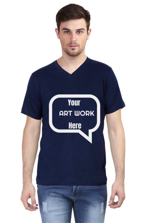 Custom Men's V Neck T-Shirt Navy Blue