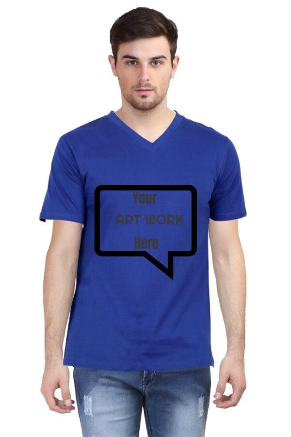 Custom Men's V Neck T-Shirt Royal Blue