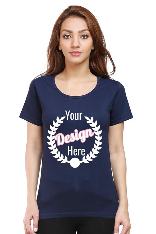 Custom Women's Navy Blue T-Shirt