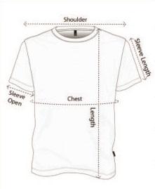 MENS t shirt size chart pic