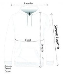 unisex hoodie SLEEVE SIZE CHART pic